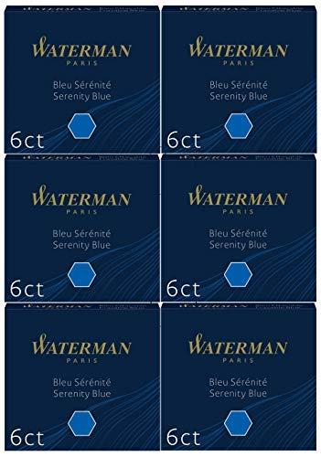 Waterman S0713041 Blister de 6 Etuis de 6 Cartouches Courtes pour Stylo Plume en encre Bleu effaçable