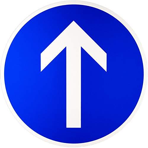 ORIGINAL Verkehrszeichen 209-30 * Vorgeschriebene Fahrtrichtung geradeaus * Verkehrsschild Schild Strassenschild Schilder StVO Gebotsschild Straßenzeichen RAL Gütezeichen blau Pfeil weiss