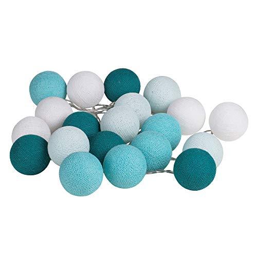 Catena di 20 sfere di cotone, decorazione per la camera da letto, per feste, matrimoni, compleanni, feste Türkis Aqua