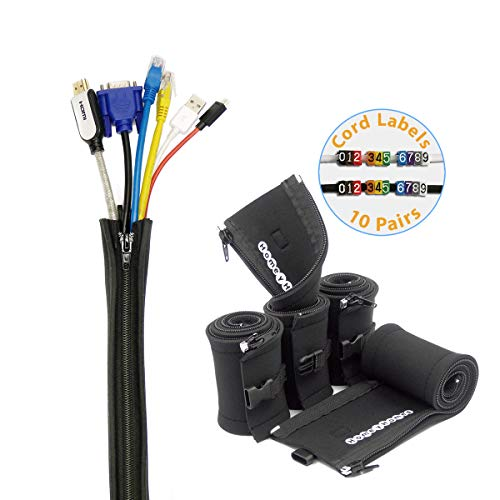 HomeyHomes Cable Management Sleeve and Wire Labels System - Extendable Cord...