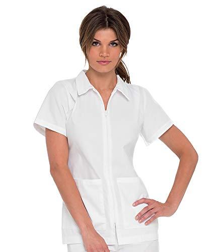Landau Women's Premium Nursing 2-Pocket Student Medical Scrub Top, White, Small