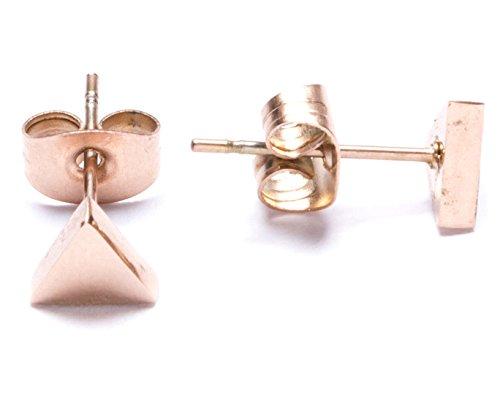 Happiness Boutique Damas Pendientes de Botón Triángulo en Estilo Minimalista   Pendientes de Botón Delicados y Modernos en Oro Rosa Libres de Níquel