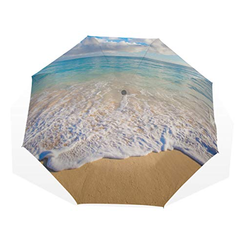 Fold Up Umbrella for Kids Hawaii Sunrise Landscape Windproof Folding Umbrella for Girls Rain & Wind Resistant Compact and Lightweight for Business and Travels