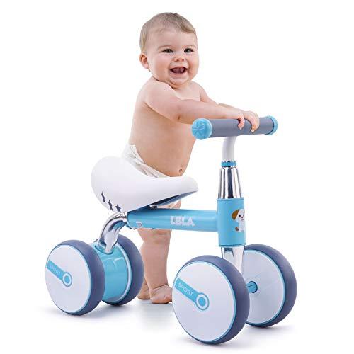 Bicicleta de Equilibrio para niños de 1 a 3 años, 4 Ruedas Bicicleta de Entrenamiento para bebés sin Pedal, Regalos de cumpleaños para niños y niñas (Azul)
