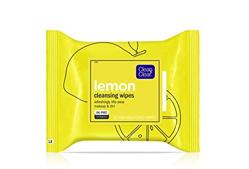 Clean Clear Lemon Face Cleansing Wipes with Vitamin C, 25 Pre-moistened Wipes