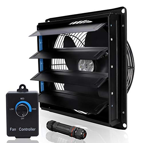 SAILFLO Shutter Exhaust Fan 10 Inch Variable Speed Wall Mounted Heavy Duty Aluminum with Power Cord Kit Speed Controller,Vent Fan for Greenhouses Shop Home Attic Garage Shed Ventilation,Black