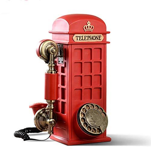 Teléfono creativo decorativo retro Mini pared con cable teléfono retro teléfono fijo con cable con botones y diales de dos estilos Teléfono de marcación rotativa roja Oficina Regalos / Decoraciones /
