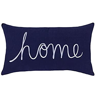 DecorHouzz Home Sentiment Pillow Cover Embroidered Pillow Cases Throw Pillow Decorative Pillow Wedding Birthday Anniversary Gift 14 x24  (Navy)