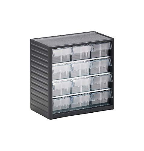 Treston Kleinteilemagazine Serie 294, 12 Schubladen, mit Selbstklebe-Etiketten, einzeln aufhängbar, Höhe 290 mm