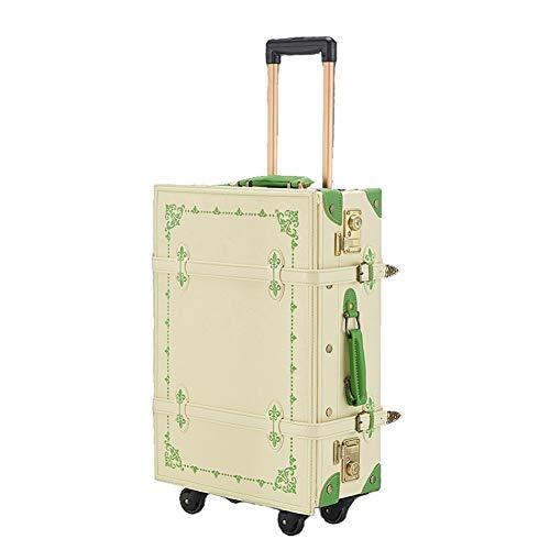 AIURBAG Reise Vintage Gepäck mit Koffer Rollkoffer,PU Leder Classic Stickerei Trolley Kofferraumtasche Reisekoffer mit Spinnerrädern, TSA-Tastensperre,Green,24inch