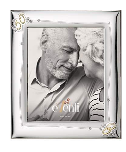 El Faro Bilderrahmen, personalisierbar, für Hochzeiten, Goldfarben, 50 Jahrestag, Silber, Bilaminat, Sterlingsilber 925, 20 x 25 cm
