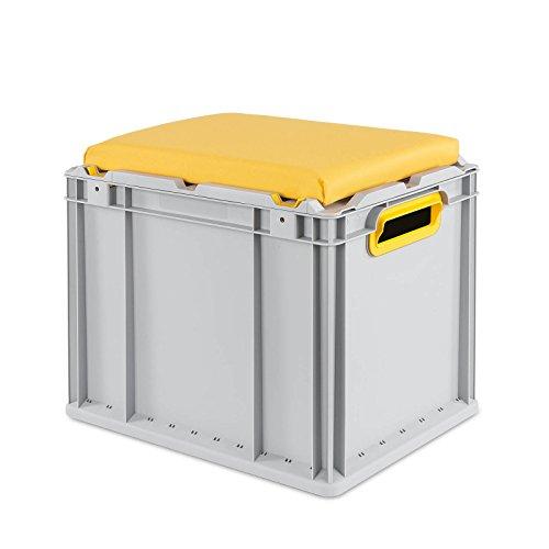 aidB Eurobox NextGen Seat Box, gelb, (400x300x365 mm), Griffe offen, Sitzbox mit Stauraum und abnehmbarem Kissen, 1St.