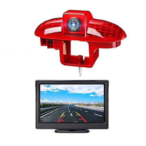 HD 720p 3. Bremslicht Rückfahrkamera-Set, 12,7 cm (5 Zoll) LCD-Monitor mit IP68 wasserdichter Nachtsicht-Rückfahrkamera für Renault Trafic, Combo C, Opel Vivaro A, Fiat Talento, Primastar (2001–2014)