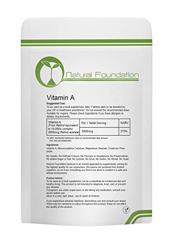 Vitamin A Tablets High Strength 10000ui Retinyl Palmitate | Natural Foundation Supplements (250 Tablets)