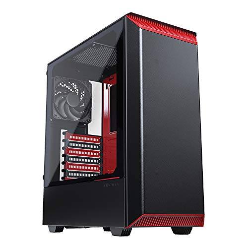 Phanteks Eclipse P300 Tempered Glass Midi-Tower Schwarz, Rot - Computer-Gehäuse (Midi-Tower, PC, Stahl, Gehärtetes Glas, Schwarz, Rot, ATX,EATX,Micro ATX,Mini-ITX, 16 cm)
