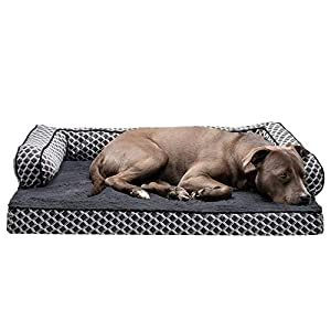 Furhaven Pet Dog Bed – Orthopedic Plush Faux Fur and Décor Comfy Couch Traditional Sofa-Style Living Room Couch Pet Bed with Removable Cover for Dogs and Cats, Diamond Gray, Large
