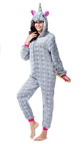 CozofLuv Einhorn Kostüm Erwachsene Tier Jumpsuits Pyjama Nachthemd Nachtwäsche Karnevalskostüme Faschingskostüm Kapuzenkostüm (M: 160-170cm, Grauer Stern)