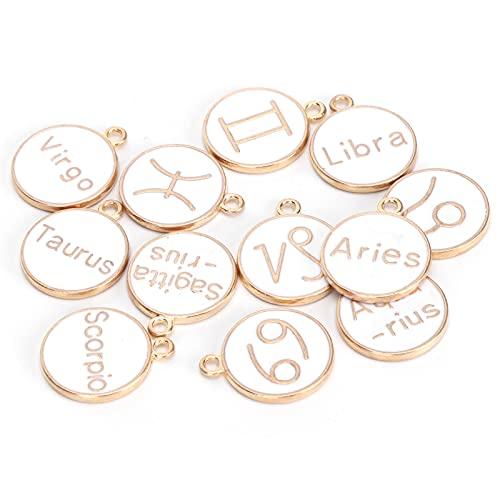 Dijes de esmalte colgantes chapado en oro 12 constelaciones colgante para manualidades DIY pulsera pendiente collar fabricación de joyas(blanco)