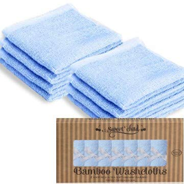 "SWEET CHILD Bamboo Baby Washcloths (Bonus 8-Pack) - Premium Extra Soft; Absorbent Towels for Baby's Sensitive Skin-Perfect 10""x10"" ReusableWipes-Great Baby Shower/Registry Gift"