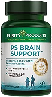 PS Brain Support from Purity Products - 100 mg Sharp-PS Green PhosphatidylSerine in Each Softgel - Non GMO, Soy-Allergen Free - Supports Healthy Cognition, and Skin Texture - 30 Soft gels