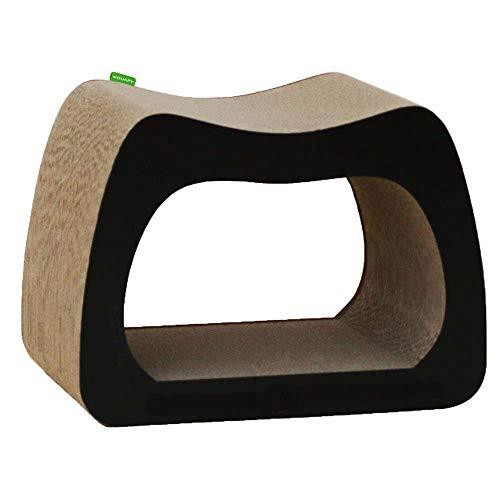 Wouapy - Griffoir Déco Kaverno pour Chat - Griffoir Entièrement en Carton - Design Moderne & Epuré - Larges Surfaces en Carton à Griffer - Pensé pour Le Confort des Chats - Noir