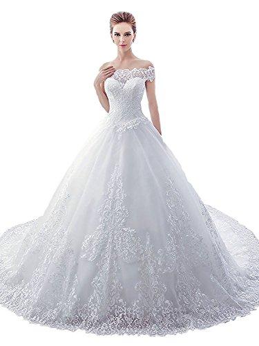 Tianshikeer Prinzessin Spitze Brautkleider Tüll Hochzeitskleider Vintage Lange Zug
