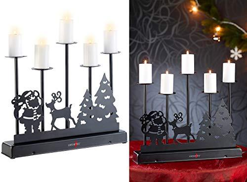 Lunartec Kerzenständer: 5-Armiger Kerzenleuchter mit elektrischen Kerzen und Netzteil (Kerzenständer elektrisch)
