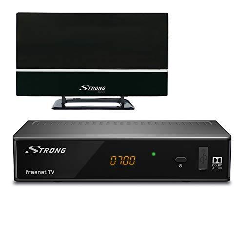 Strong SRT 8541 + SRT Ant 30 TV Set-Top Boxes Terrestre Alta Definición Total Negro - Reproductor/sintonizador (Terrestre, DVB-T2, PAL, 1920 x 1080 Pixeles, 576i,576p,720p,1080i,1080p, 4:3,16:9)