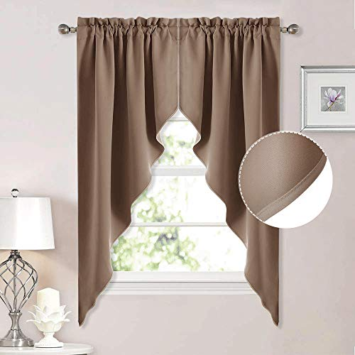 """NICETOWN Blackout Pole Pocket Kitchen Tier Curtains - Tailored Scalloped Valances/Swags for Living Room (Cappuccino, 2 Panels, 36"""" W X 63"""" L Each Panel)"""