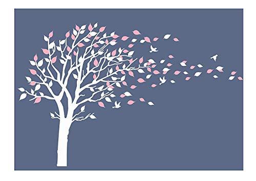 Bdecoll Familie Wand Aufkleber mit Schwarz Und Grün, bleibt Sechs Flying Birds Vinyl Wand Aufkleber für Babys Kids Kinder Schlafzimmer Dekoration (Pink)