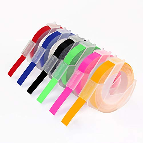 Compatible 3/8 Embossing Label Tape Replacement for Dymo 3D Plastic Embossing Colored Label Tape, Neon Pink/Orange/Green/Red/Blue/Black for Dymo Organizer Xpress Pro, Label Buddy, 6 Pack