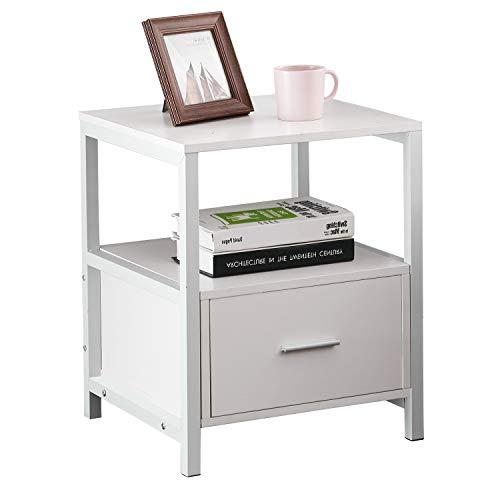 VECELO Nachttisch Nachtkommode mit Schublade Ablage Beistelltisch im Industrie-Design Sofatisch Nachtschrank 45 * 45 * 56cm Groß und Modern Weiß