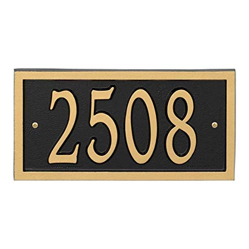 AlumaCast Address Plaque House Number Sign # P3253 - Black with Gold Numbers and Border