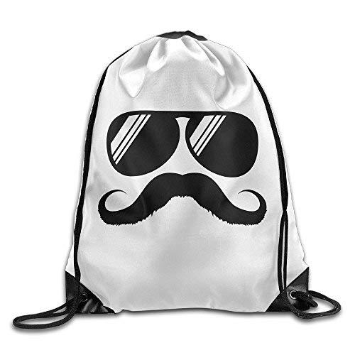 Etryrt Mochila de Cuerda,Bolsas de Gimnasia, Funny Mustache Shades 2016 Funny Drawstring Backpack...