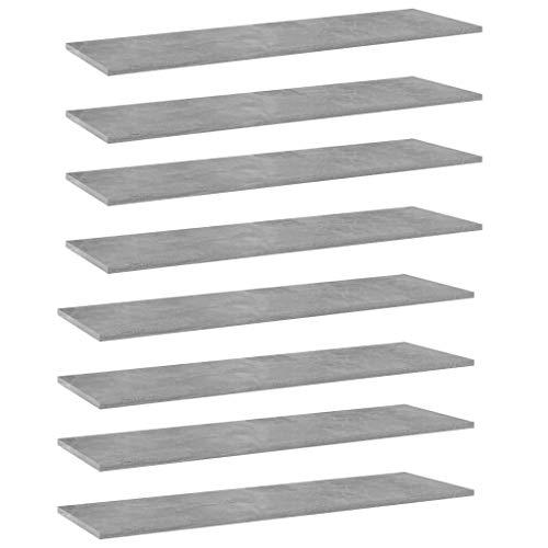 Estantes flotantes, estantes de Pared de exhibición Estante Decorativo Tablero de repisa Estante Tablas de estantería 8 Piezas Gris hormigón 100x30x1.5 cm Aglomerado