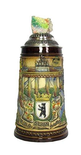 KING Bierkrug Berlin Seidel, braun, original Mauersteindeckel 0,5 Liter Bierseidel