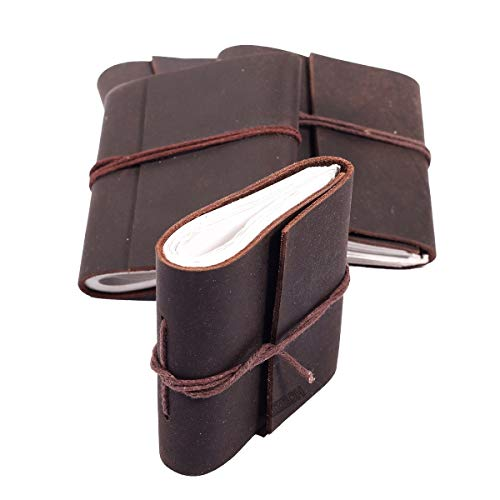 Handmade Leather Set of 4 Mini Scrapbook Sketchbook Personal Notebook Blank Unlined Diary For Office||Artist|| Architect||Restaurants (Buffalo Leather) Set Of 4 Vintage Journal for Men and Women
