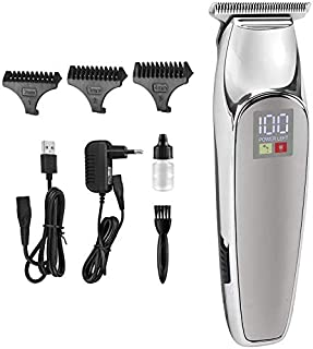 Professional T-Outliner Beard/Hair Trimmer LED Oil Head Carving Push White Electric Clipper Charging Electric Clipper Rech...