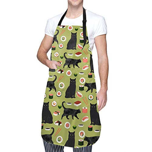 Perfect Life Hall Cute Pet Cat Animals Sushi Rice Theme Waterproof Apron BBQ Waiter Housekeeper Pet Grooming Bartender Kitchen Beautician Hairstylist Nail Salon Accessories Unisex