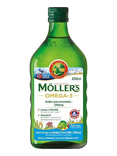 Möller's Omega 3 - Olio di fegato di merluzzo, aroma: Tutti Frutti, 250 ml