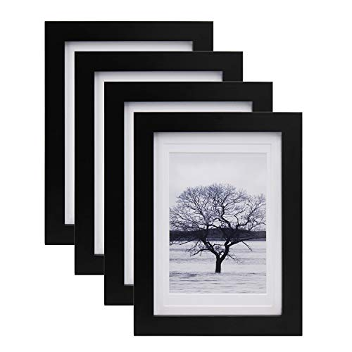 Egofine 5x7 Picture Frames 4 PCS - Made of Solid Wood Matted for 4x6 and 3.5x5 HD Plexiglass for Table Top Display and Wall Mounting photo frame Black