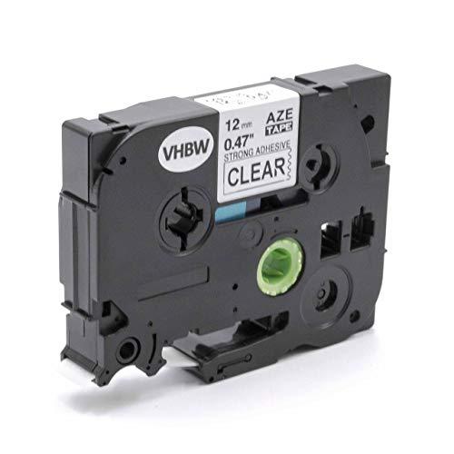 vhbw Schriftband Kassette 12mm weiß auf transparent extra stark für Etiketten-Drucker Brother P-Touch H105, H105NB, H105WB, H105WN, H107B, H110