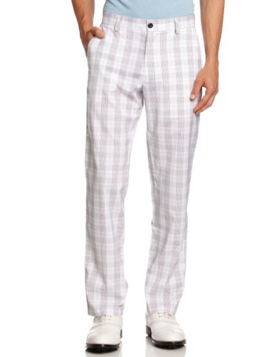 Calvin Klein Herren Golfhose, kariert, Herren, Weiß/Charcoal, 40/Regular