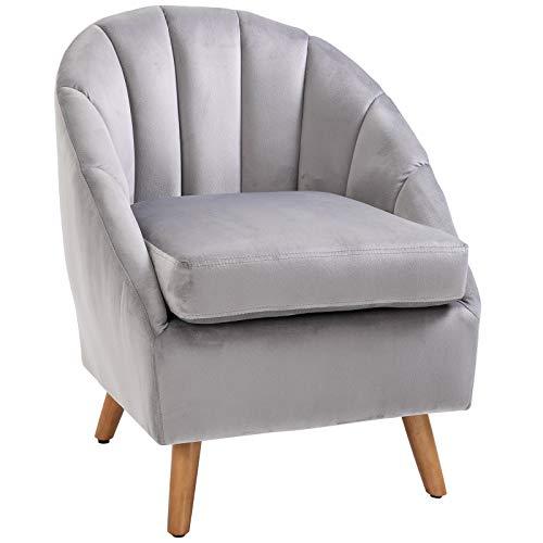 HOMCOM Accent Chair Velvet Fabric Single Sofa Armchair Home Living Room Solid Wood Leg Upholestered Side Armchair Grey