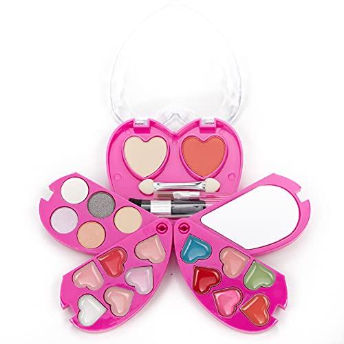 INCA.Set de Maquillaje Infantil niñas. Paleta de Sombra de Ojos, pintalabios y coloretes para niñas. Estuche de corazón con Varios Niveles, Espejo Incluido