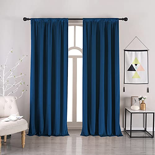 Navy Blue Velvet Blackout Curtains - nanbowang 84 Inches Long Light Blocking Rod Pocket Window Curtain Panels Set of 2 Heat Insulated Curtains Blackout Thermal Curtains for Bedroom 2 Panels