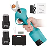 Anbull Electric Pruning Shears, Cordless Pruner with 2Pcs Backup Rechargeable Lithium Battery Powered Tree Branch Pruner for Gardening, 1.26 Inch Cutting Diameter Electric Shear (Green)