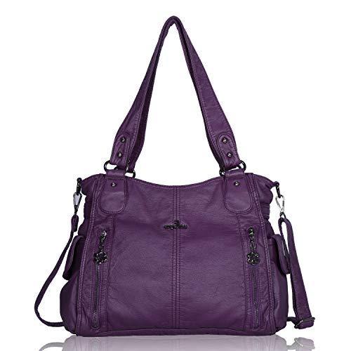 Angelkiss - borsa da donna in pelle lavata 2 in 1, con zip nella parte superiore e tasche multiple; utilizzabile anche come borsa a tracolla - codice: 1193; colore: viola