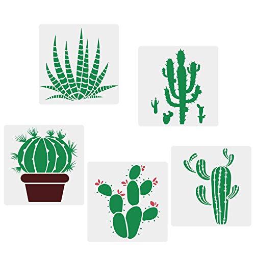 CODOHI Cactus Schablonen, 5 Packungen Cacti Reusable Mylar Vorlage f¨¹r Journaling, DIY Home Decor Rock Art Projekte Malerei, Backen von Keksen, Kunsthandwerk, Wand, M?bel 15x15cm