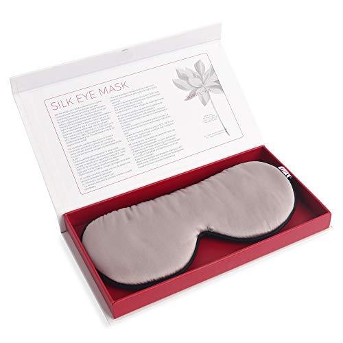 White Lotus Anti Aging GANZHEITLICHE SEIDEN-SCHLAFMASKE/Augen-Maske aus 19 Momme Maulbeer-Seide Geschwollene Augen & Augenringe/Vollständig abdunkelnd für tollen Schlaf/Weiße Luxus-Geschenkbox
